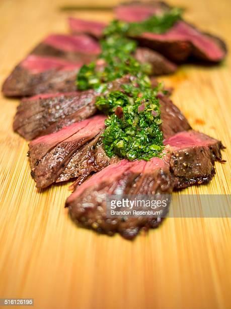 hanger steak with chimichurri sauce - チミチュリ・ソース ストックフォトと画像