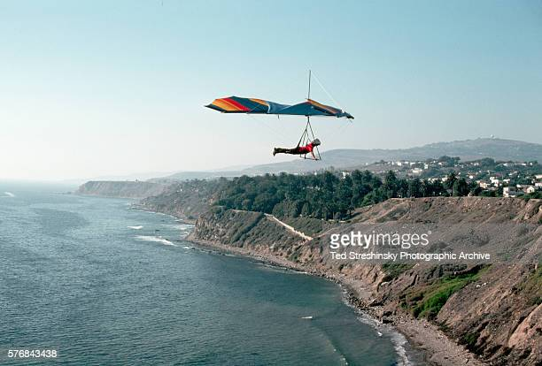 A hangglider over Point Fermin Park in San Pedro a district of Los Angeles on the coast