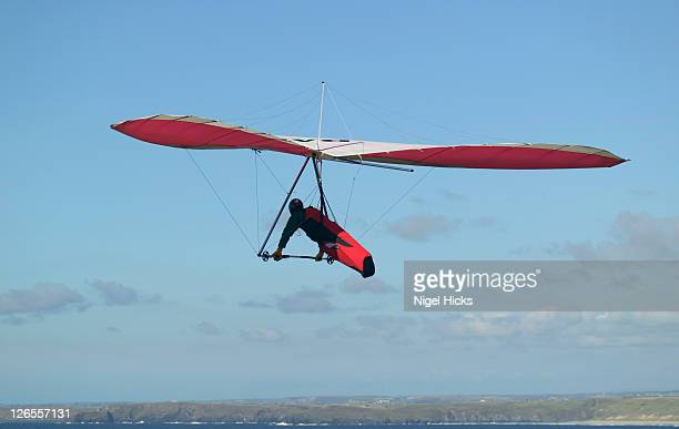 A hang-glider taking above the clifftop of St Agnes Head, near St Agnes, Cornwall.