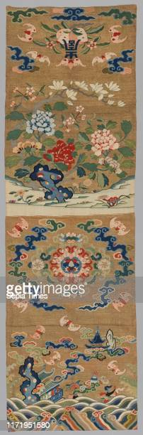 Hanging, 1700s-1800s. China, Qing dynasty . Tapestry weave, slit joins. Silk and gold file. Overall: 165.7 x 51.4 cm .