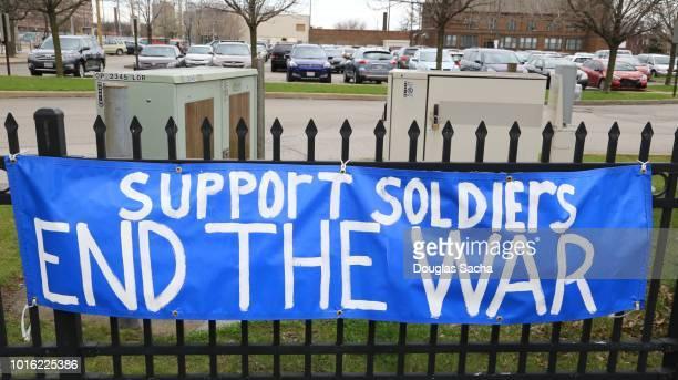 hanging banner with a anti-war message - spruchband stock-fotos und bilder