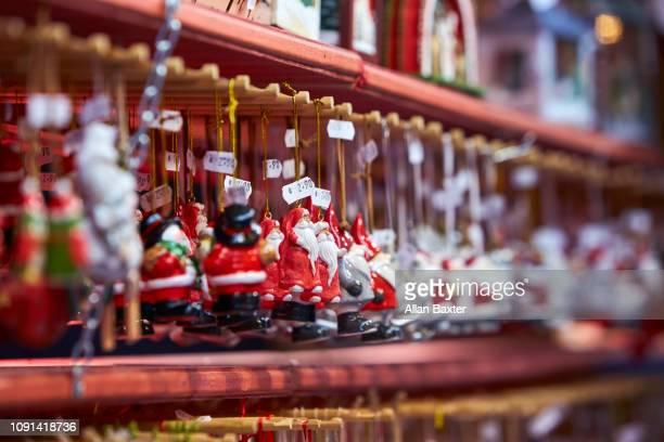 Hanging baubles in Strasbourg Christmas market