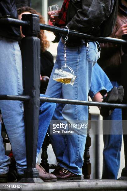 hanging beer at a festival in germany - image stock-fotos und bilder