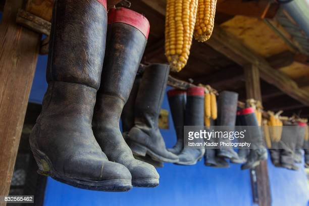 Hanging Boots and Corn as Decorations in Szék, Transylvania