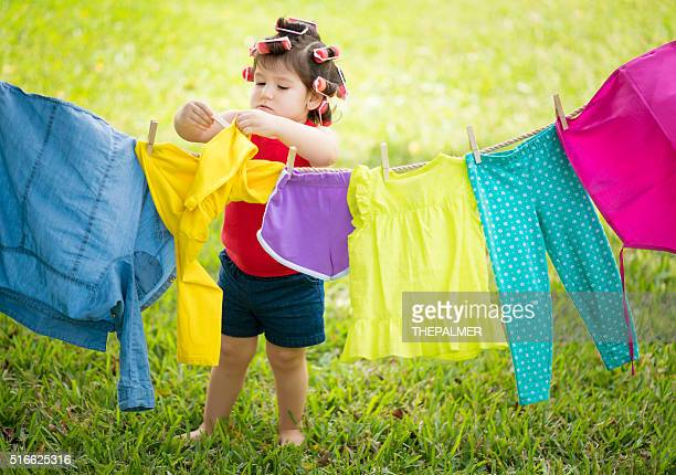 Hanging clothes to dry