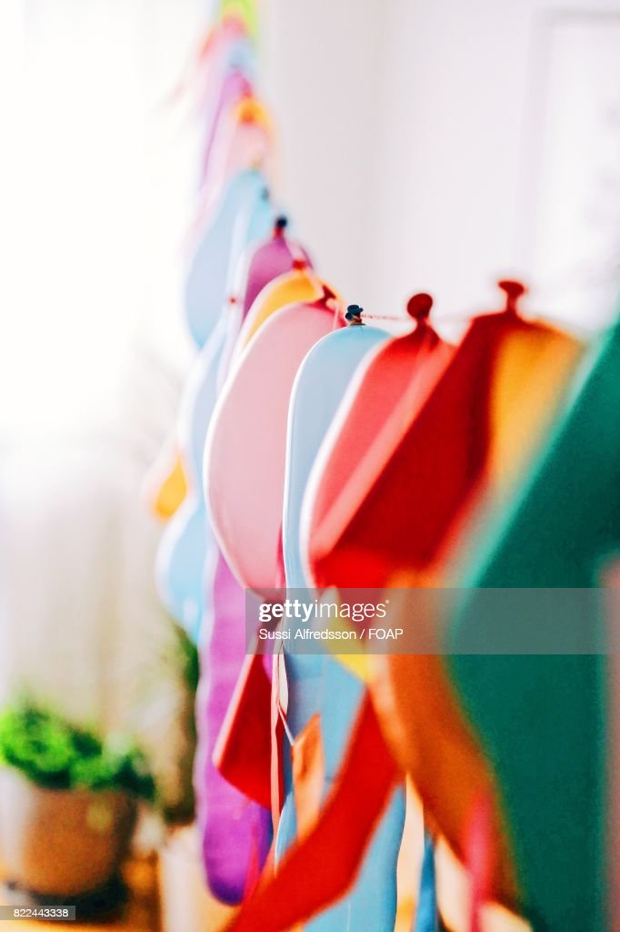 Hanging colorful balloons : Stock Photo