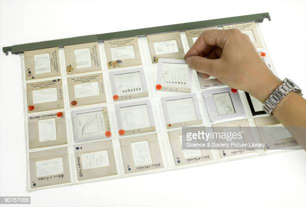 A hanging file of transparencies created by the pathologist Dr P C Elmes to accompany his lectures on lung diseases The slides are mostly graphs and...