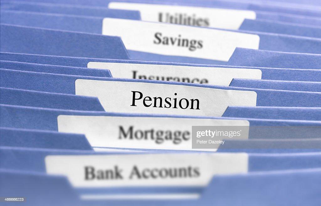 Hanging files/pension : Stock Photo