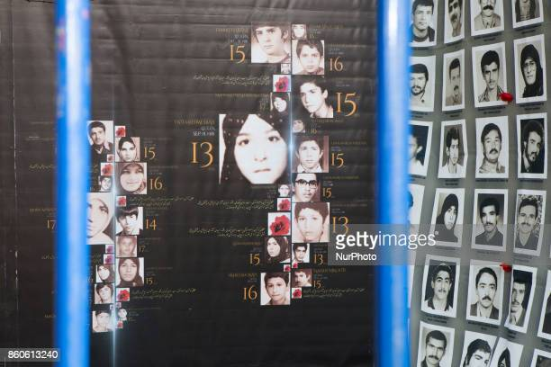 Hanging flowers exhibition Place Denfert Rochereau in Paris France on 11 October 2017 in memory of the thousands of students massacred in Iran on...