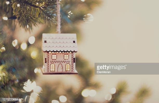 hanging house ornament - christmas stock pictures, royalty-free photos & images