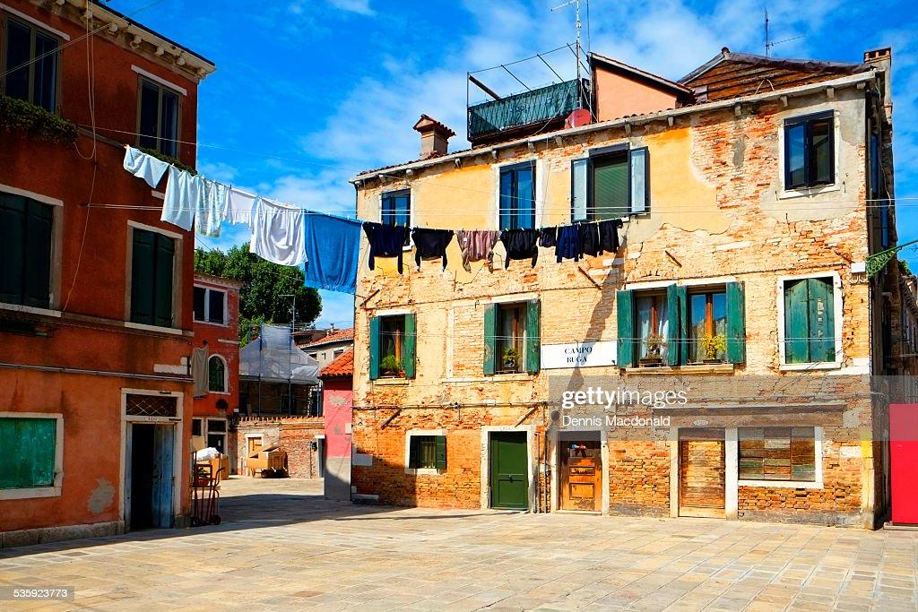 Hanging laundry, Castello, Venice : Stock Photo