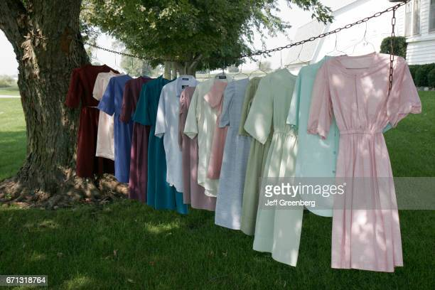Hanging laundry outside an Amish house in Shipshewana