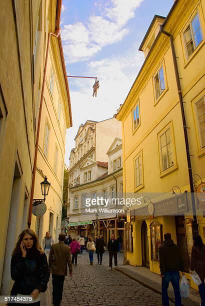 Hanging man artwork, Prague.
