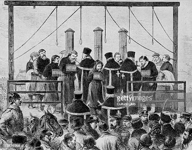 Hanging of anarchists in Russia Government repression of the Nihilist movement followed unrest after end of Russo Turkish War in 1878