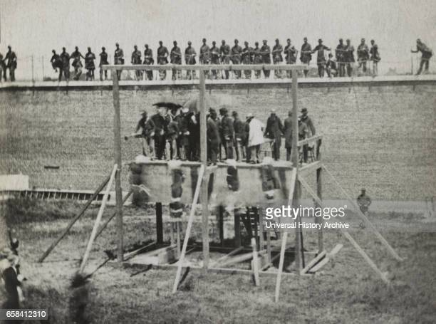Hanging of Conspirators of Assassination of US President Abraham Lincoln Arsenal Prison Washington DC USA by Alexander Gardner July 7 1865