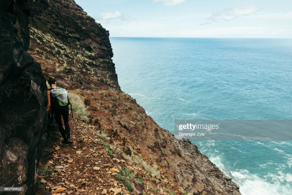 Hanging on the Cliff, Mile 7, Kalalau Trail : Stock Photo
