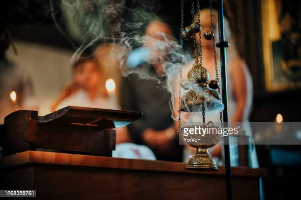 hanging orthodox incense burner - religious service stock pictures, royalty-free photos & images