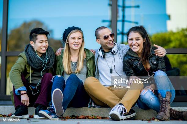 hanging out with friends - generation z stock photos and pictures