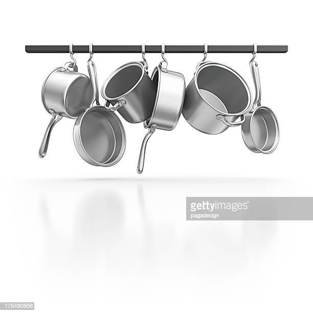 hanging pans - kitchen utensil stock pictures, royalty-free photos & images