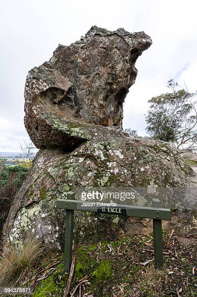 a rock pillar made of solvsbergite in the shape of an eagles head. - mamelon photos stock pictures, royalty-free photos & images