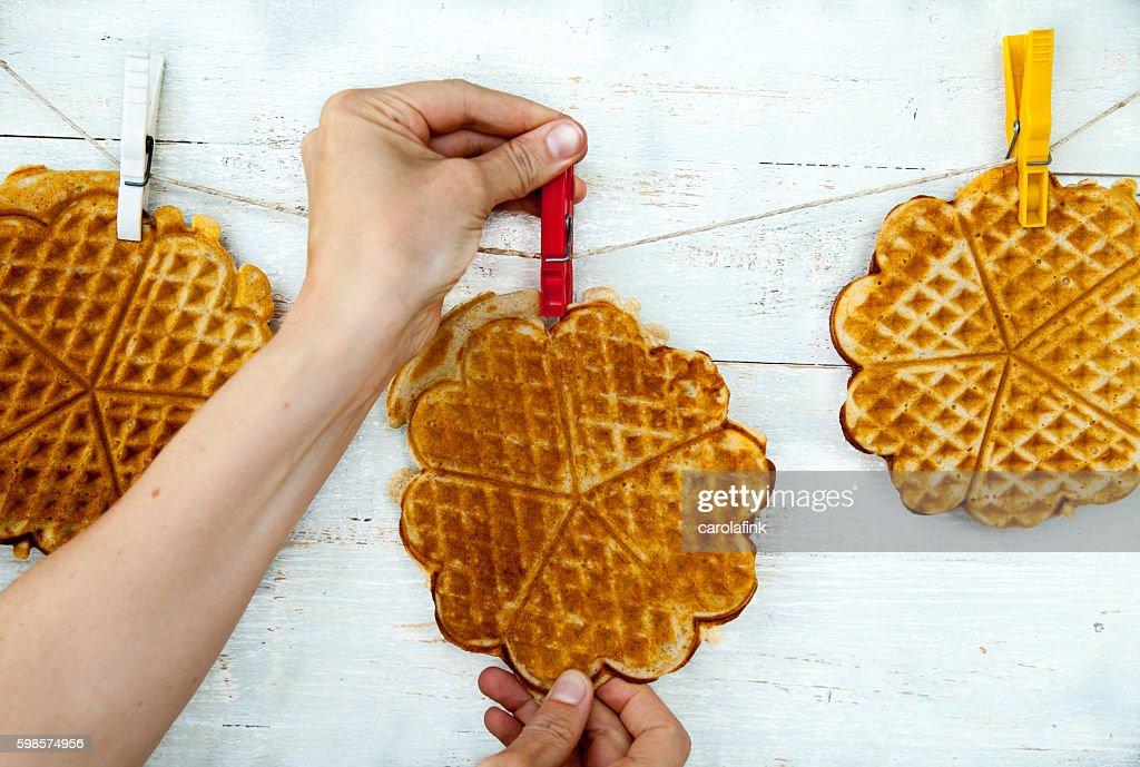 Hanging waffles : Stock-Foto