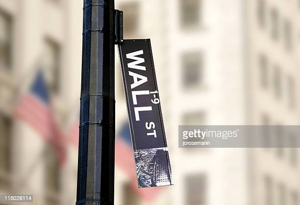 hanging wall street sign - inflation stock photos and pictures