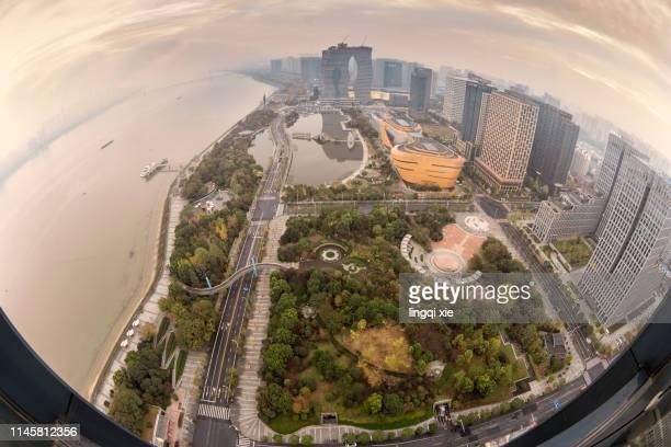 hangzhou binjiang new district under the fisheye lens - hdri 360 ストックフォトと画像