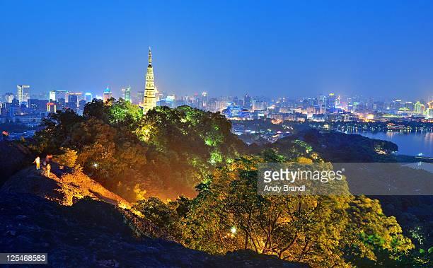 Hangzhou city (Baochu Tower and cityscape at night