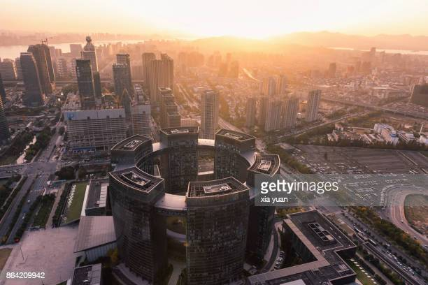 hangzhou downtown skyline at sunset,china - zhejiang province stock pictures, royalty-free photos & images