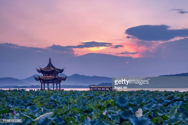 hangzhou west lake jixian pavilion sunset scenery - pavilion stock pictures, royalty-free photos & images