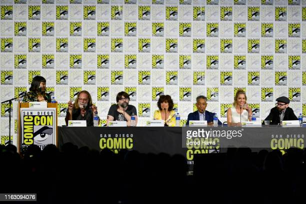 Hanh Nguyen Greg Nicotero Joe Hill Adrienne Barbeau Giancarlo Esposito Tricia Helfer and DJ Qualls speak at the Creepshow Panel at Comic Con 2019 on...