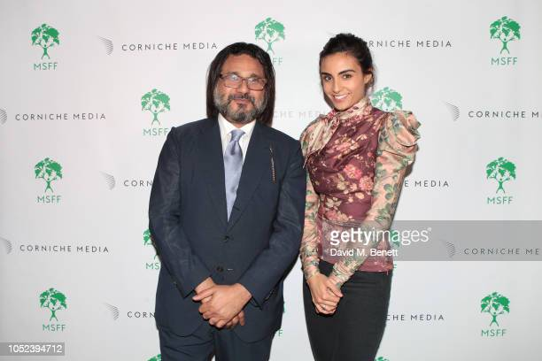 Hani Farsi and Aiysha Hart attend as MSFF celebrates its ten year Anniversary at Somerset House on October 17 2018 in London England