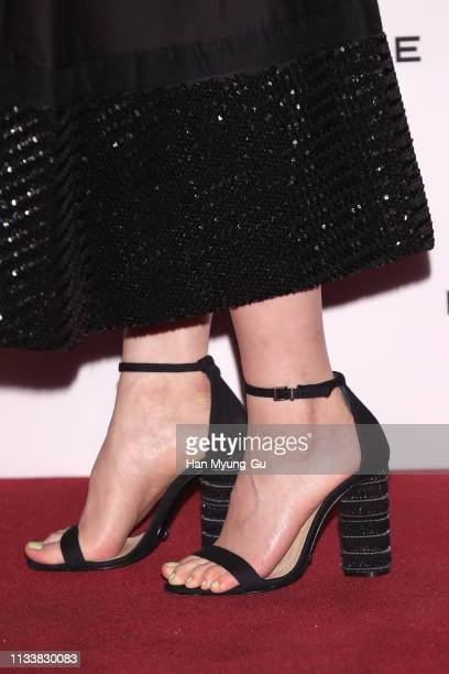"""Hani shoe detail of South Korean girl group EXID attends the photocall for ROCHAS """"Mademoiselle Rochas Couture"""" launch on March 05 2019 in Seoul..."""