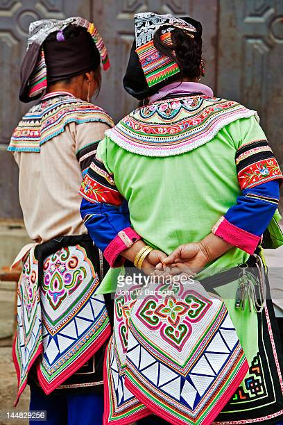 hani tribal women, yuanyang, yunnan - yuanyang stock pictures, royalty-free photos & images
