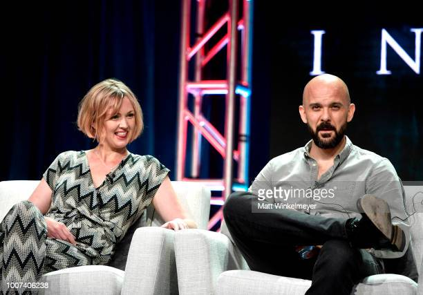 Hania Elkington and Simon Duric of 'The Innocents' speak onstage during Netflix TCA 2018 at The Beverly Hilton Hotel on July 29 2018 in Beverly Hills...