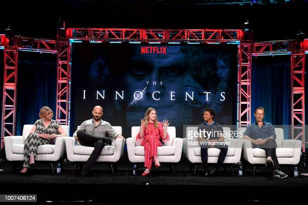 Hania Elkington Simon Duric Sorcha Groundsell Percelle Ascott and Guy Pearce of 'The Innocents' speak onstage during Netflix TCA 2018 at The Beverly...