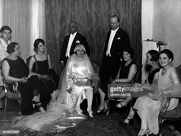 Hanim Nebile Turkey*19011947Adopted daughter of Mustafa Kemal Atatuerkand her husband with his family before the start of the wedding party...