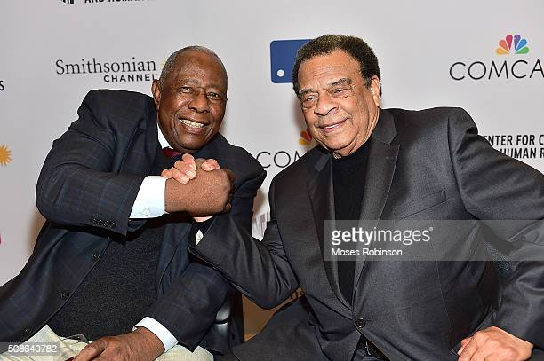 Hank Aaron and Andrew Young attend premiere screening of Major League Legends Hank Aaron and celebration of Hank Aaron's 82nd birthday at the...