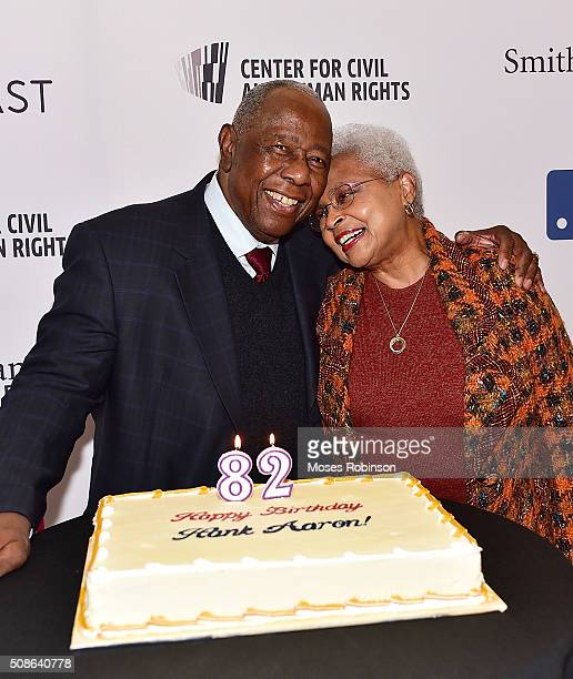 Hank Aaron and Billye Aaron attend the premiere screening of Major League Legends Hank Aaron and celebration of Hank Aaron's 82nd birthday at the...