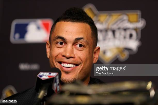 Hank Aaron Award recipient Giancarlo Stanton of the Miami Marlins attends the 2017 Hank Aaron Award press conference prior to game two of the 2017...