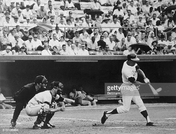 Hank Aaron blasts his 500th career home run in a Sunday afternoon game in the third inning of a game against the San Francisco Giants. Most Aaron...