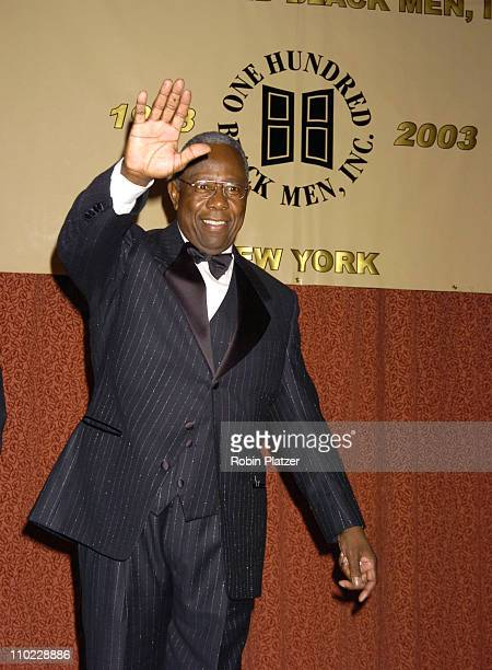 Hank Aaron during One Hundred Black Men's 25th Anniversary Gala at New York Hilton in New York City New York United States