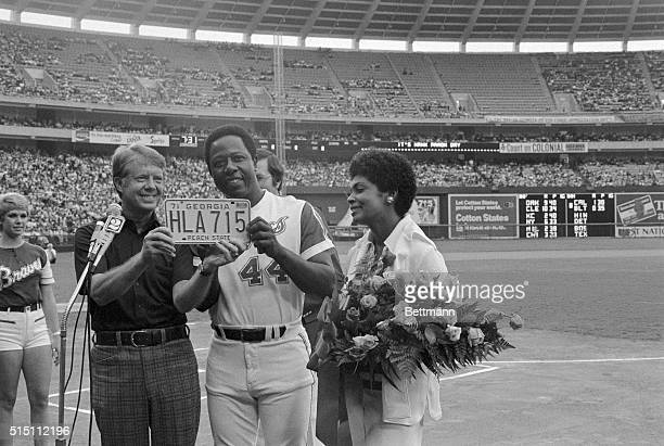 Hank Aaron is honored during a pregame awards ceremony at AtlantaFulton County Stadium celebrating his recordbreaking 715th home run which broke Babe...