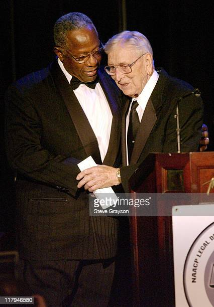 Hank Aaron John Wooden during NAACP Legal Defense Fund's Hank Aaron Humanitarian Award in Sports at The Beverly Hilton Hotel in Beverly Hills...