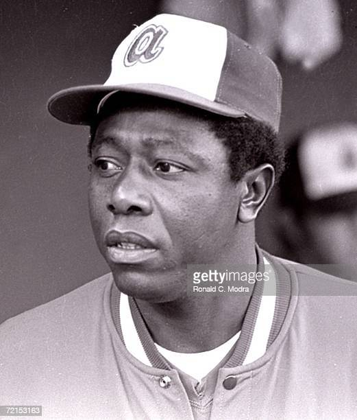 Hank Aaron of the Atlanta Braves during a game at County Stadium against the Milwaukee Brewers during the 1970s in Milwaukee Wisconsin