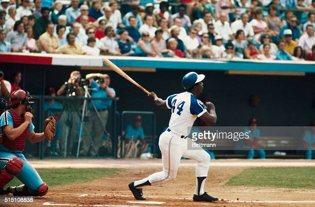 Hank Aaron of the Atlanta Braves hits his 700th home run against the Phils here. The 39-year-old outfielder is not just 14 home runs behind Babe...
