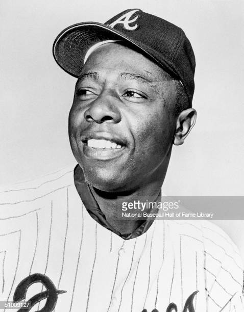 Hank Aaron of the Atlanta Braves poses for a portrait Aaron played in Atlanta for the Braves from 19661975