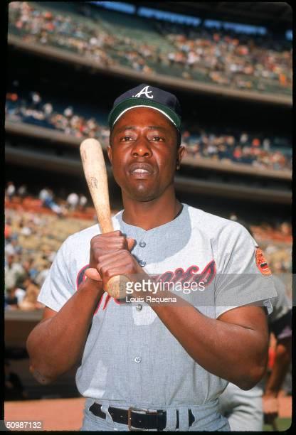Hank Aaron of the Atlanta Braves poses for a portrait circa 1968. Hank Aaron played for the Atlanta Braves from 1954 to 1954.