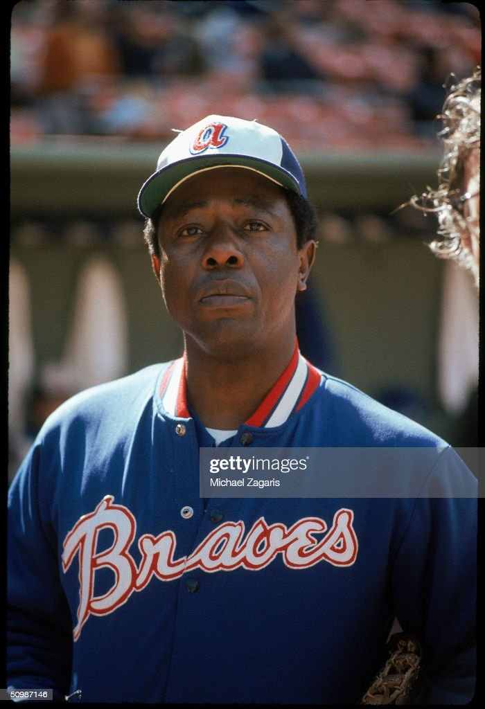 Hank Aaron #44 of the Atlanta Braves poses for a portrait in 1974.