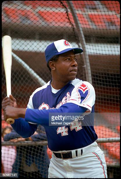 Hank Aaron of the Atlanta Braves poses for an action portrait in 1973